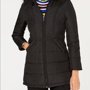 Faux-fur trim hooded long puffer coat
